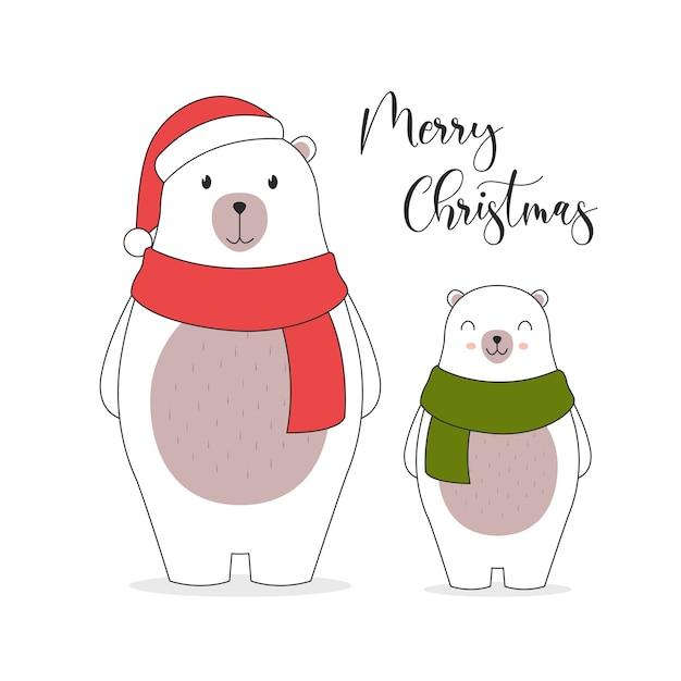 С рождеством христовым иллюстрация карты. . симпатичные персонажи белого медведя. Бесплатные векторы