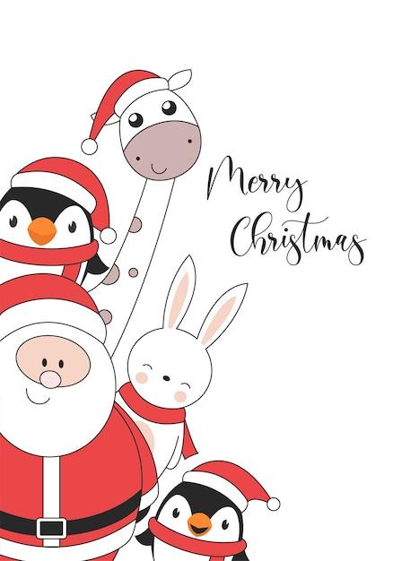 펭귄 토끼 기린과 산타 클로스와 함께 메리 크리스마스 일러스트 카드 무료 벡터
