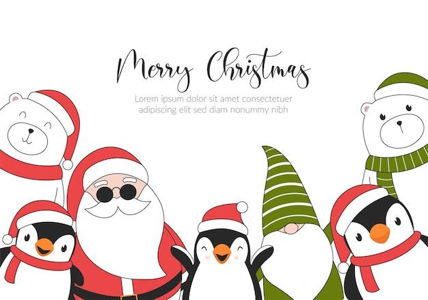 С рождеством христовым иллюстрация карты с белыми медведями, пингвинами, эльфом и санта-клаусом. Premium векторы