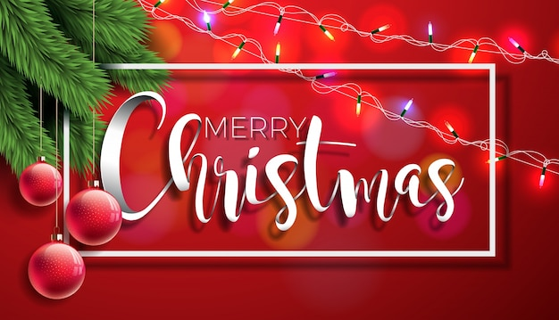 Merry Christmas Illustration on Red Background with Typography and Holiday Elements, Vector EPS 10 design. Premium Vector