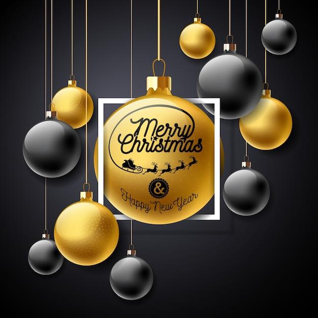 검은 배경에 금 유리 공 및 타이포그래피 요소와 메리 크리스마스 일러스트 프리미엄 벡터