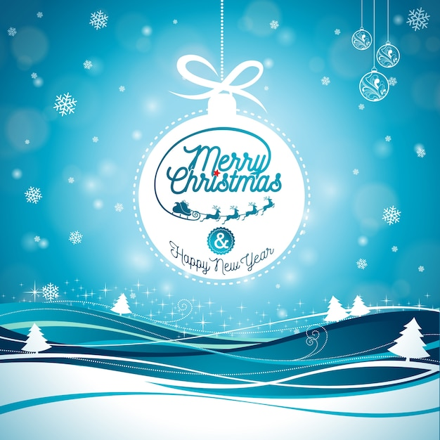 Christmas Holidays Images.Merry Christmas Illustration With Typography And Ornament