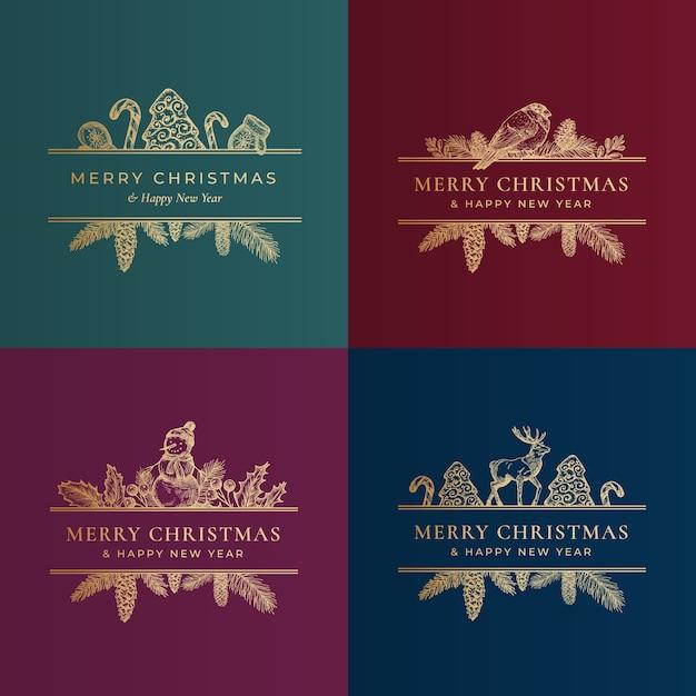 Merry christmas illustration Free Vector