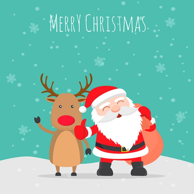 merry christmas illustration vector free download