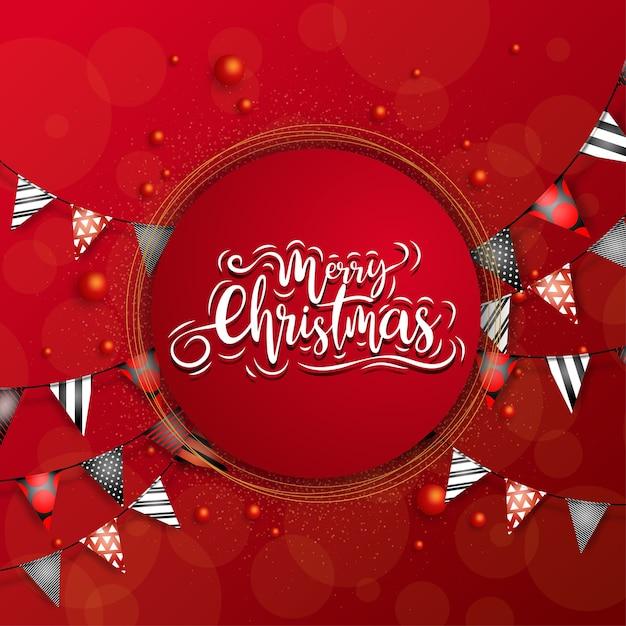 여러 가지 빛깔의 삼각형 리본 원에서 메리 크리스마스 무료 벡터