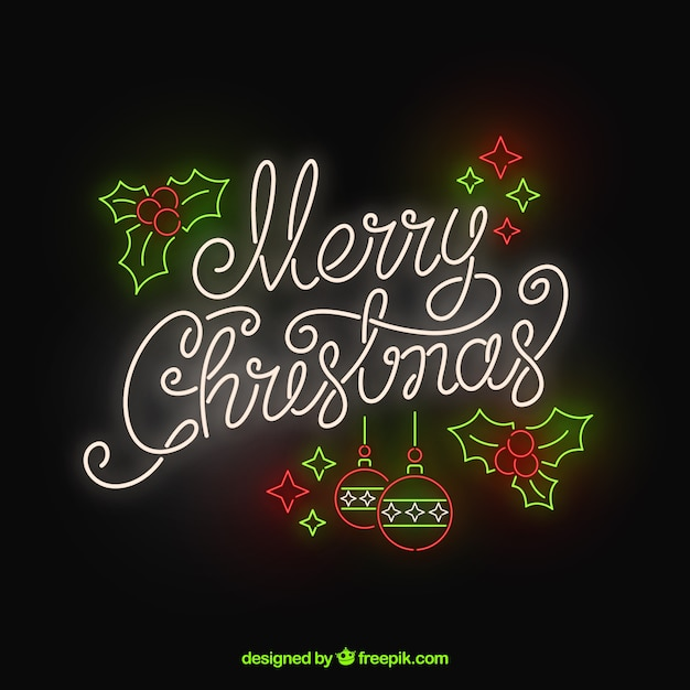 Merry christmas in neon Free Vector