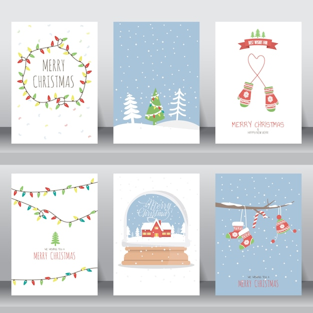 Merry christmas invitation and greeting card Premium Vector