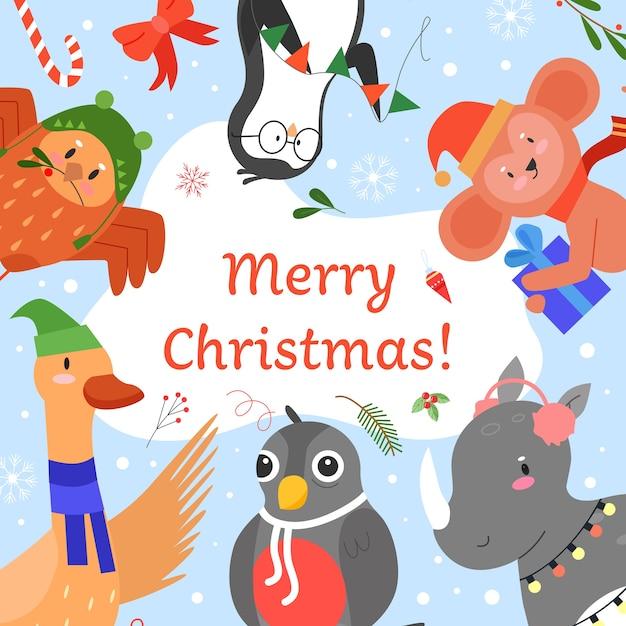 メリークリスマスの招待状のベクトルイラスト、漫画フラットかわいい動物の挨拶、一緒にハッピークリスマスパーティーイベントを祝う Premiumベクター