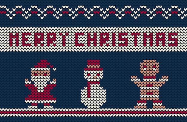 かわいいキャラクターとメリークリスマスニットの背景 無料ベクター
