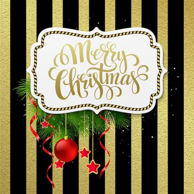 Счастливого рождества этикетка с золотыми буквами, открытки Premium векторы