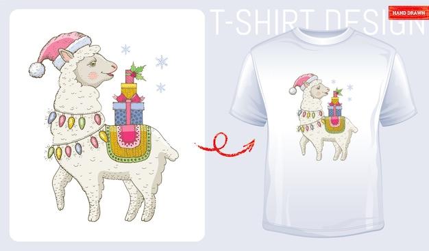 サンタクロースの帽子のメリークリスマスラマ。ラマtシャツのプリントデザイン。冬のファッション。 Premiumベクター