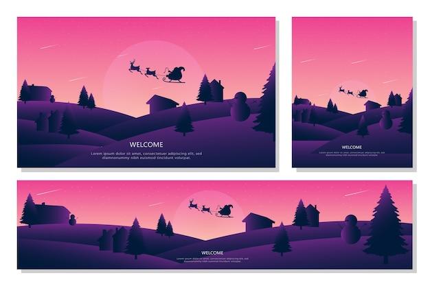 メリークリスマス風景バナーセット、フラットなデザインスタイル。背景イラスト Premiumベクター