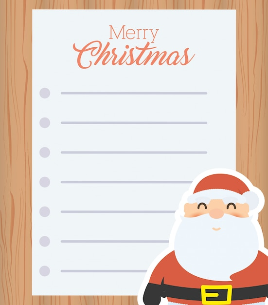 Merry christmas letter with santa claus Free Vector