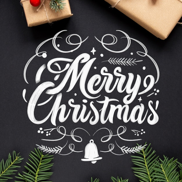Merry christmas lettering background Free Vector
