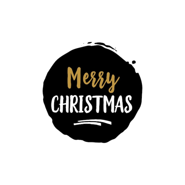 Merry christmas lettering in black round Free Vector