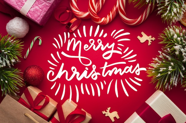 Merry christmas lettering for christmas Free Vector