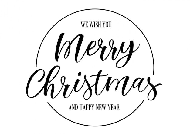 Christmas Lettering.Merry Christmas Lettering In Circle Vector Free Download