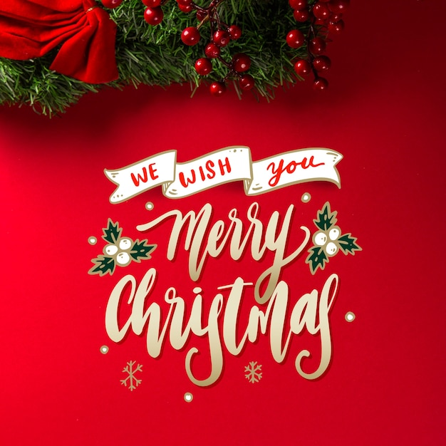 Merry christmas lettering concept Free Vector
