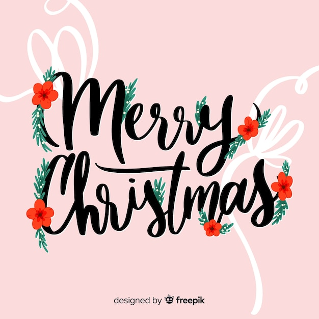Merry christmas lettering eve decoration Free Vector