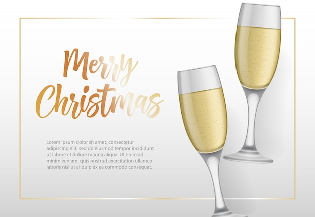 Merry christmas lettering in frame and goblets Free Vector
