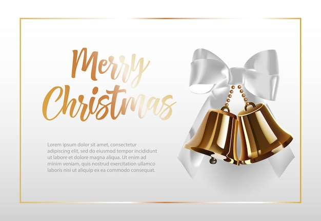 Merry christmas lettering in frame with bells Free Vector