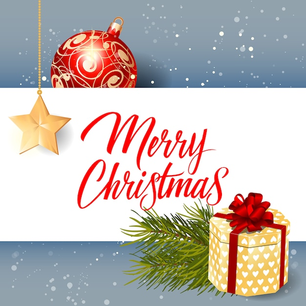 Merry christmas lettering, gift and ball Free Vector