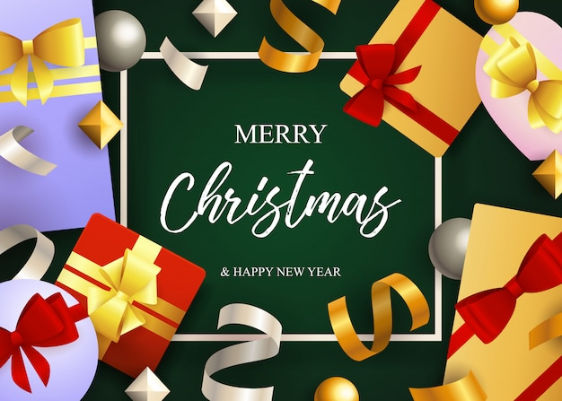 Merry christmas lettering, gift boxes with ribbon bows Free Vector
