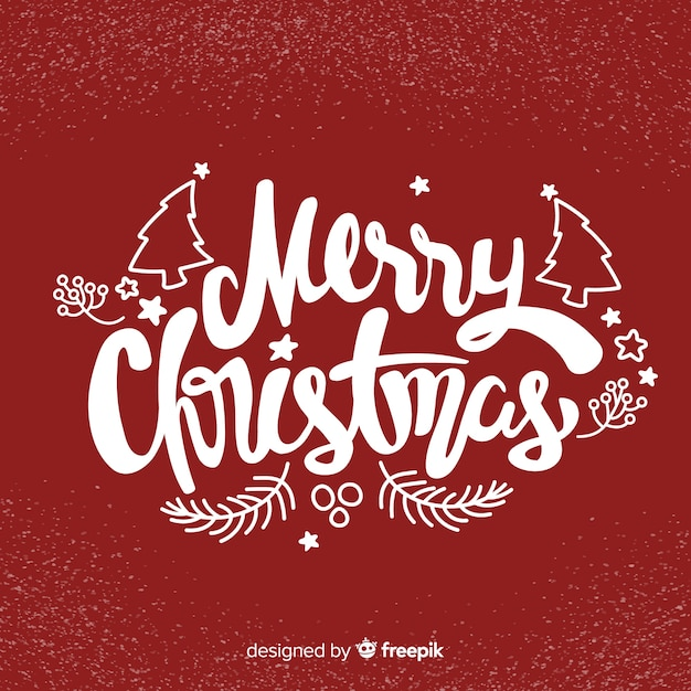 Merry christmas lettering happy holiday Free Vector