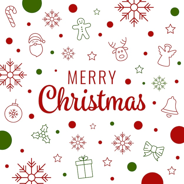 Merry Christmas Lettering Icon Elements Background Vector