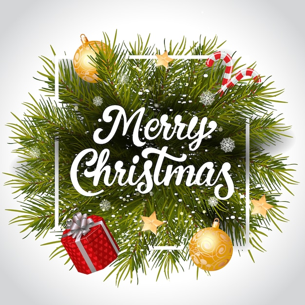Merry Christmas lettering in frame Vector | Free Download