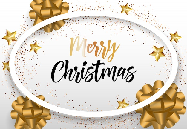 Merry christmas lettering in oval frame with gold bows Free Vector