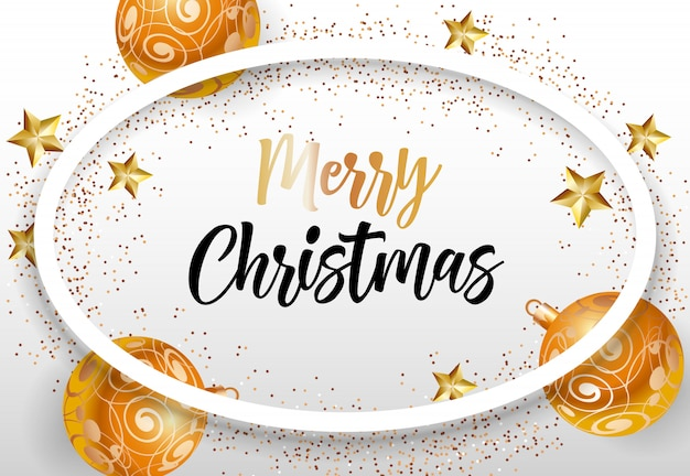 Merry christmas lettering in oval frame Free Vector