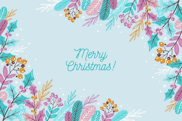 Merry christmas lettering on winter wallpaper Free Vector