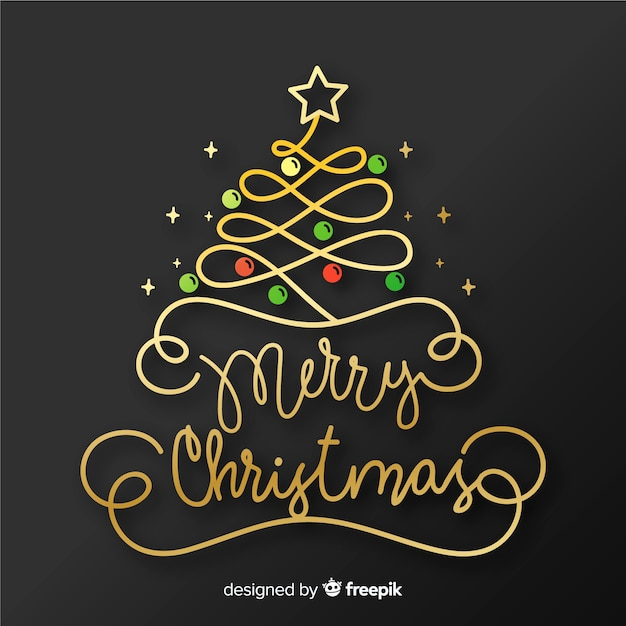 Merry christmas lettering with balls and star Free Vector