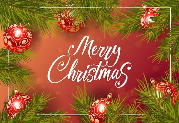 Merry christmas lettering with baubles Free Vector