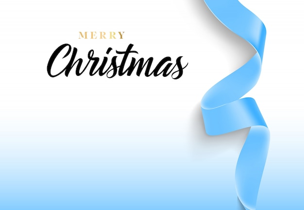 Merry christmas lettering with blue ribbon Free Vector