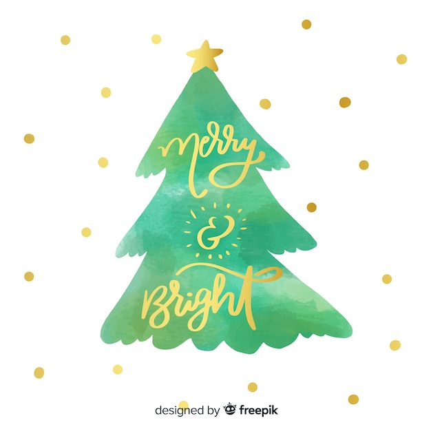 Merry christmas lettering with christmas tree Free Vector