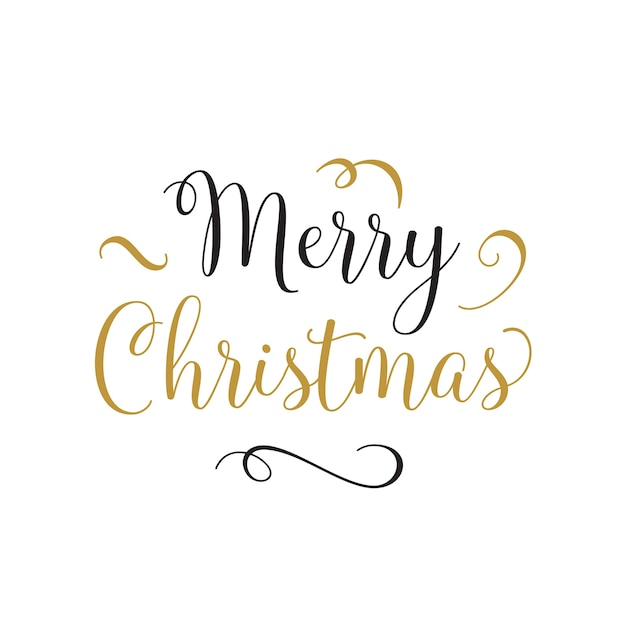 Merry christmas lettering with curls Free Vector