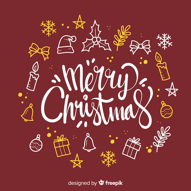 Merry christmas lettering with decoration elements Free Vector