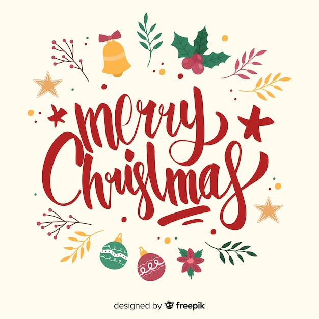 Christmas Lettering.Merry Christmas Lettering With Eve Decoration Vector Free