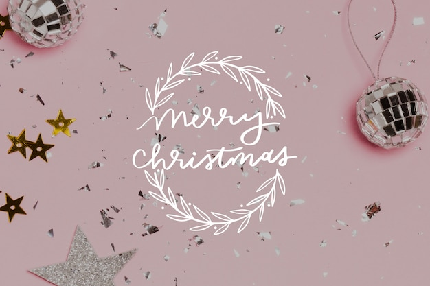 Merry christmas lettering with photo Free Vector