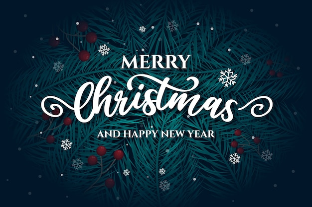 Merry christmas lettering with pine leaves Free Vector