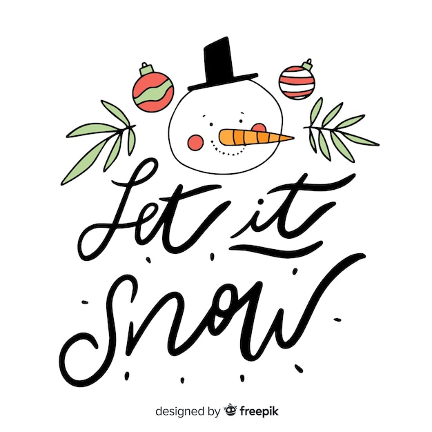 Merry christmas lettering with snowman Free Vector