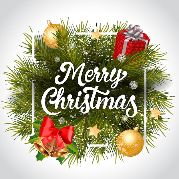 Merry Christmas lettering with wreath in frame Free Vector