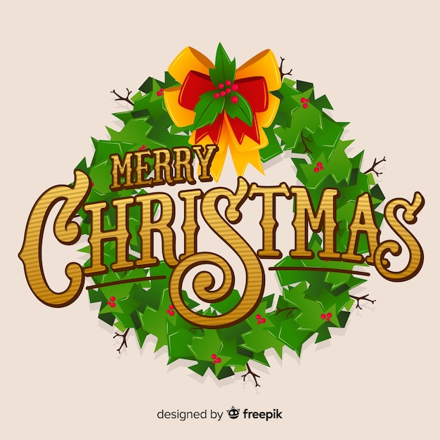 Merry christmas lettering with wreath Free Vector