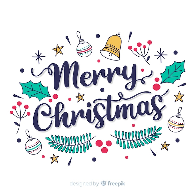 Merry Christmas Clip Art.Merry Christmas Lettering Vector Free Download