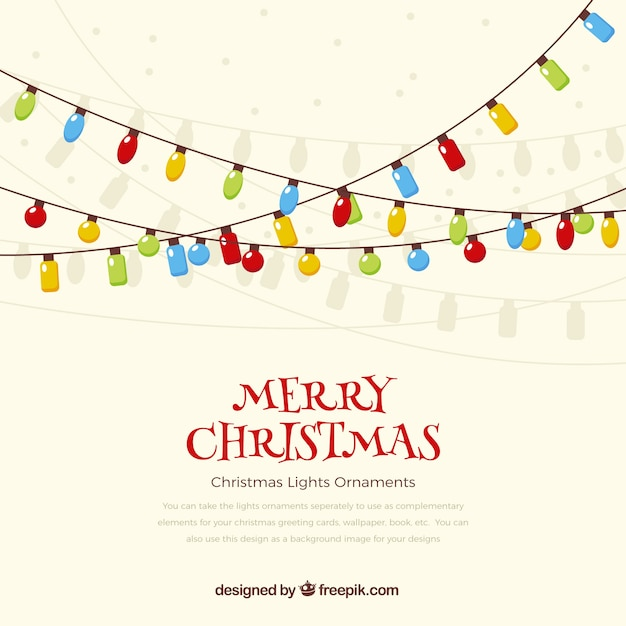 merry christmas lights background free vector