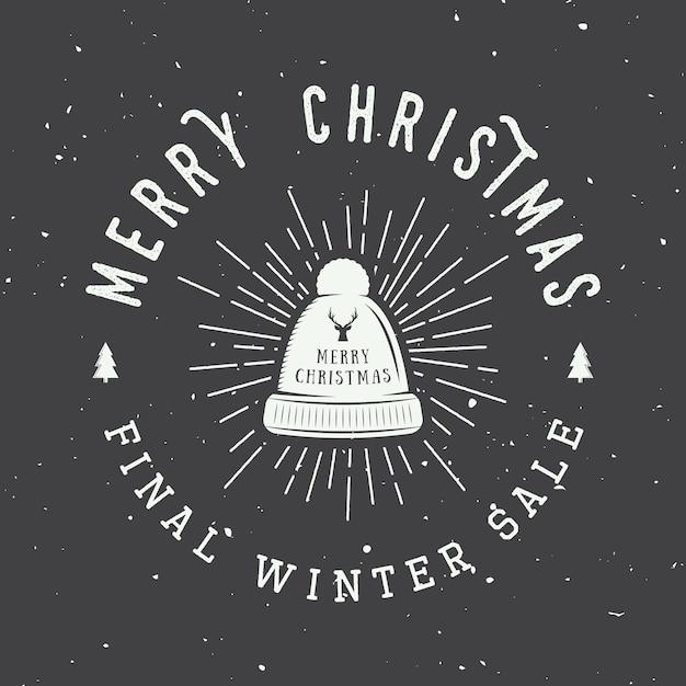 Merry christmas logo Premium Vector