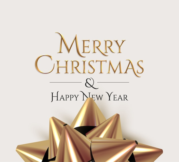 Merry christmas luxury golden lettering sign with realistic golden gift bow on light background. Premium Vector