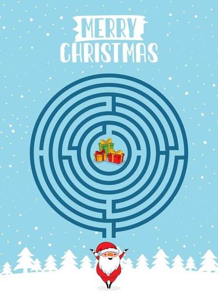 Веселого рождества лабиринт игры круг лабиринт викторина Premium векторы